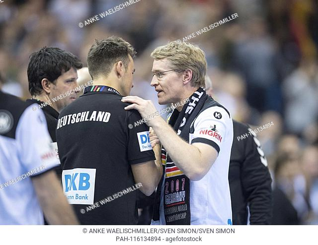 Daniel GUENTHER (Gunther) r. (State Premier Schleswig-Holstein) troestet coach Christian PROKOP (GER) after the SPiel, semi-final Germany (GER) - Norway (NOR)...