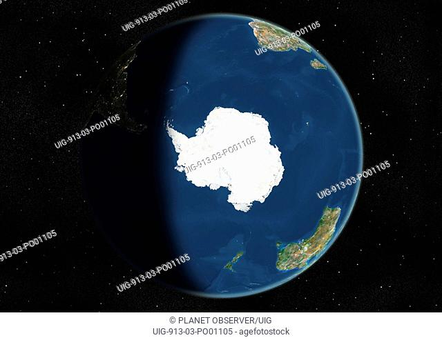 Globe Centred On The South Pole, True Colour Satellite Image. True colour satellite image of the Earth centred on the South Pole, during winter solstice at 6 a