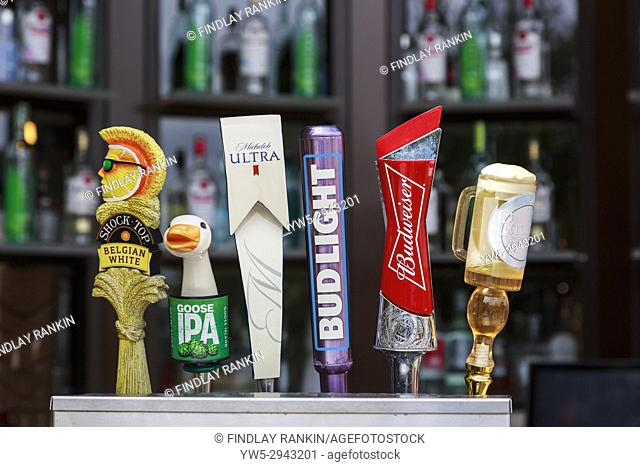 Selection of beers and lagers for sale at a bar cafe at Disney Springs, Orlando, Florida, America, USA