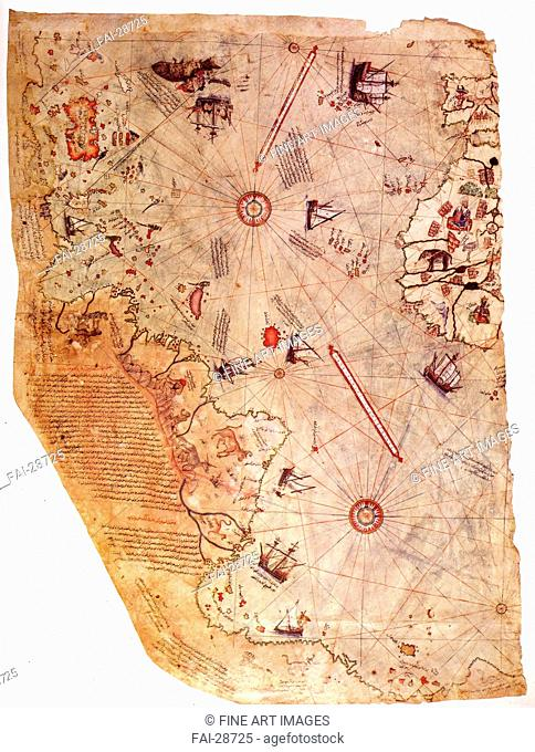 The Piri Reis world map by Piri Reis (1470-1553)/Watercolour on parchment/Cartography/1513/Turkey/Topkap&#305 Palace, Istanbul/History/Graphic arts/Die Karte...