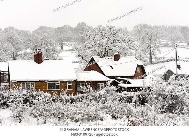 Rooftops are covered with snow in Builth Wells, Powys, Wales, UK