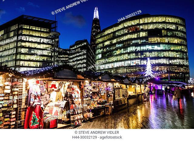 England, London, Southwark, London Bridge City, More London Riverside and Christmas Market