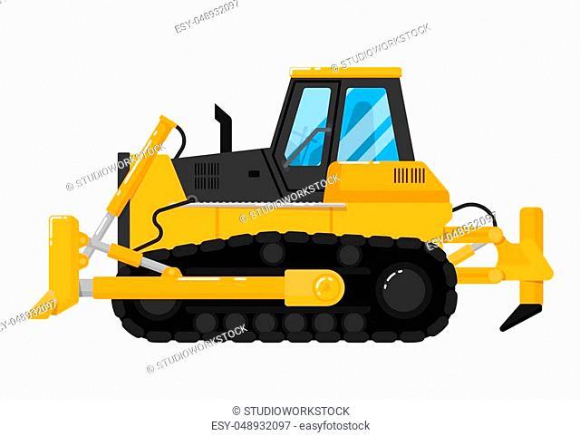 Yellow crawler bulldozer isolated on white background vector illustration. Construction digger machine in flat design. Modern dozer
