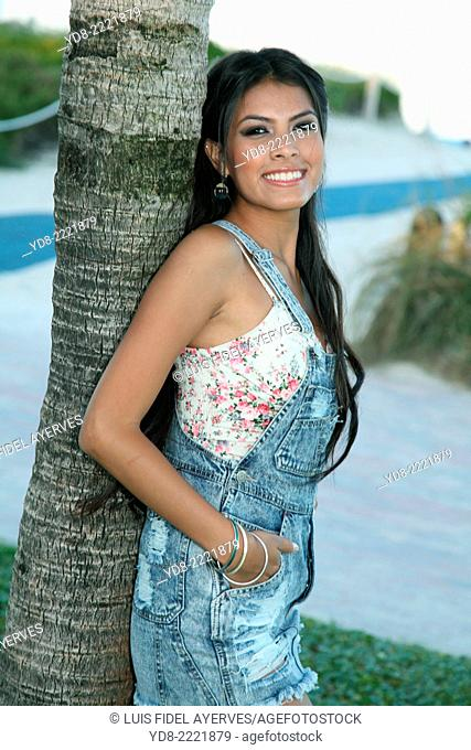 Young girl posing in the South Point, Miami Beach, Florida, USA