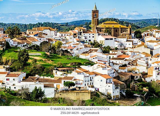 Panoramic view of the village of Cortegana, Huelva, Andalusia, Spain, Europe