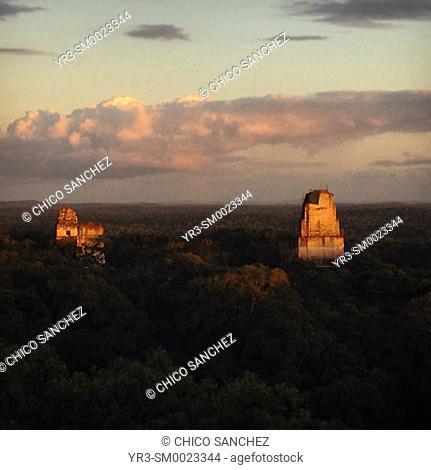 Sunset in the Mayan city of Tikal, Peten, Guatemala