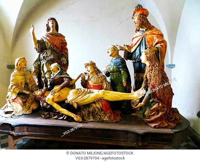 """Bellano, Province of Lecco, region Lombardy, eastern shore of Lake of Como, Italy. Saint Martha's Church, Giovanni Angelo Del Maino """"""""il compianto"""""""" (1518)"""