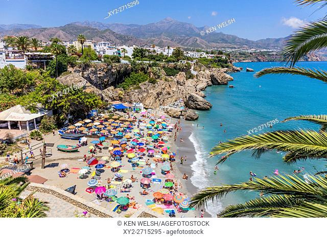 Nerja, Costa del Sol, Malaga Province, Andalusia, southern Spain. View from the Balcon de Europa (or Balcony of Europe) to the Playa Calahonda (Calahonda beach)