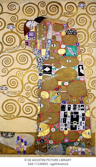 Fulfillment, 1905-1909, by Gustav Klimt (1862-1918), cartoon for the frieze of Villa Stoclet in Brussels, 195x120 cm. Austria, 20th century