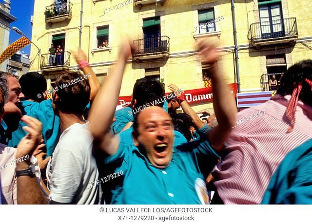 Celebrating a great success Castellers de Sant Pere i Sant Pau 'Castellers' is a Catalan tradition Diada de Santa Tecla  Plaça de la Font Tarragona,Catalonia