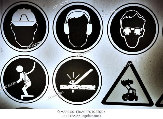 Construction site safety warnings sign. Barcelona, Catalonia, Spain
