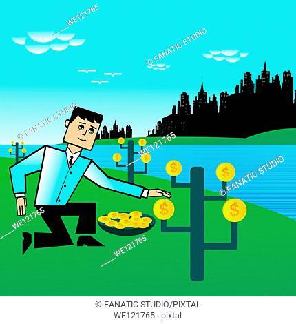 Businessman harvesting money at the riverside