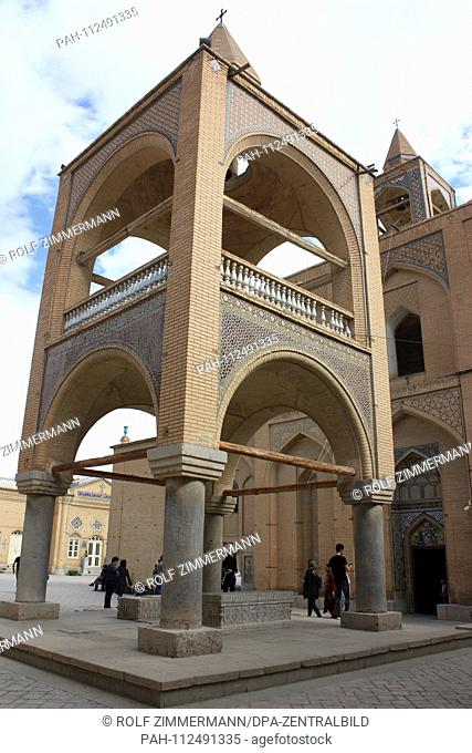 Iran - Isfahan (Esfahan), capital of the province of the same name. Foot of the bell tower and entrance to the Armenian Apostolic Vank Cathedral in the district...