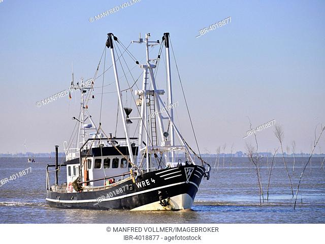 Cutter off the North Sea resort of Wremen, Cuxhaven district, Lower Saxony, Germany