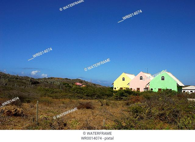 Colorfully painted Houses, Caribbean Sea, Netherland Antilles, Curacao
