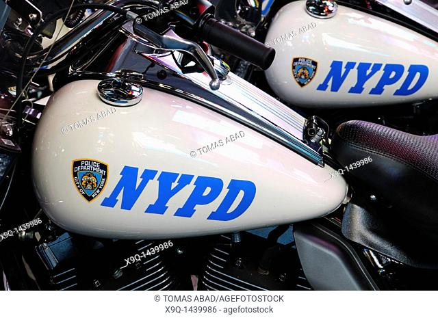 New York Police Department's Harley-Davidson Electra Glide motorcycles parked in Times Square, 42nd Street, Theater District