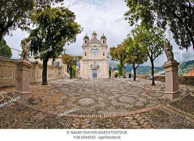 The Sanctuary of the Madonna Della Costa and garden with sculpture, San Remo, Italy