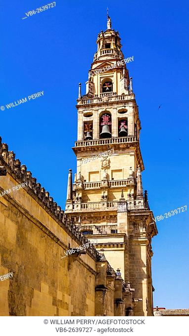 Torre del Alminar Bell Tower Mezquita Cordoba Andalusia Spain. Created in 785 as a Mosque, was converted to a Cathedral in the 1500