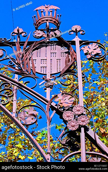 Detail of the modernist wrought iron lamppost of Passeig de Gracia de Pere Falqués i Urpí, Eixample district, Barcelona, Catalonia, Spain