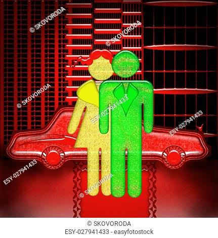 Bright neon symbol of Vip couple standing on red carpet near expensive car in the modern city, decorative illustration