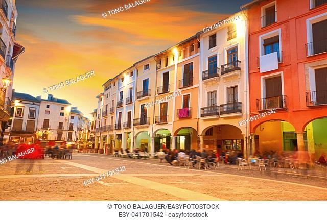 Xativa Plaza Mercat square in Valencia also Jativa at Spain