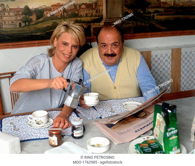 Maria De Filippi And Maurizio Costanzo Having Breakfast Stock Photo Picture And Rights Managed Image Pic Mdo 1762985 Agefotostock