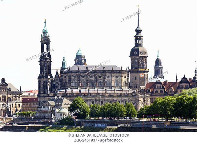 View onto the Hofkirche in Dresden, Saxony, Germany