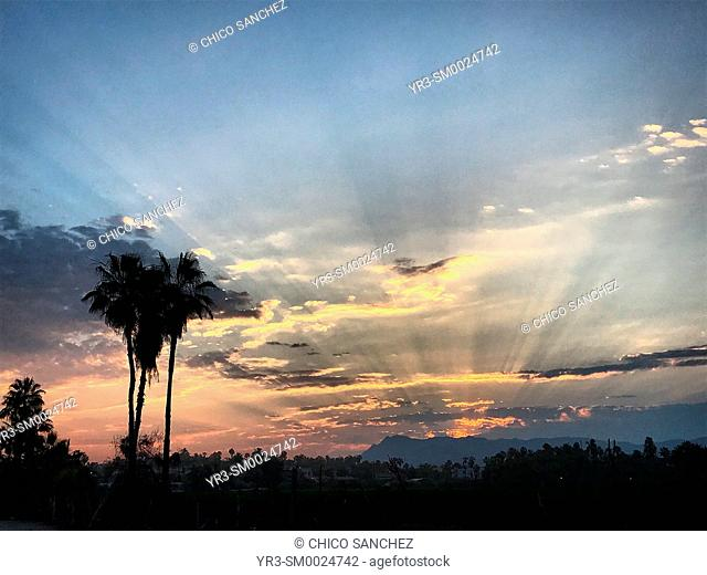Sunrise in the beach in the Pacific Ocean coast in Todos Santos, Baja California, Mexico