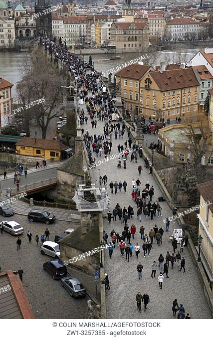 View across Vltava River from Lesser Town Bridge Tower, Charles Bridge, Prague, Czech Republic