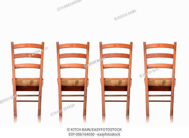 A wooden chair isolated against a white background