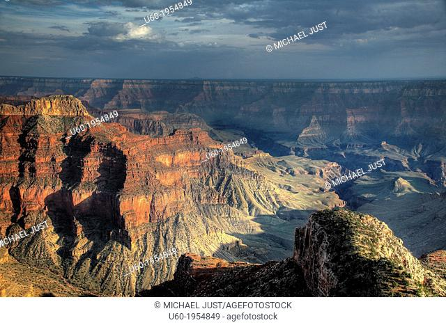 The sun sets in the Grand Canyon from Point Sublime,Grand Canyon National Park, Arizona