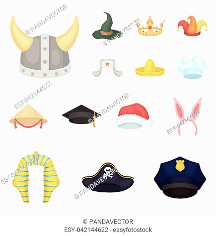 2a42972317094 Different kinds of hats cartoon icons in set collection for design.Headdress  vector symbol stock
