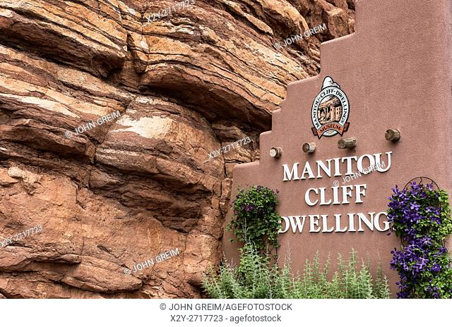 Manitou Cliff Dwellings of the Anasazi, native American Indian tribe. These dwellings were carved out of the soft red sandstone cliffs that offered protection...