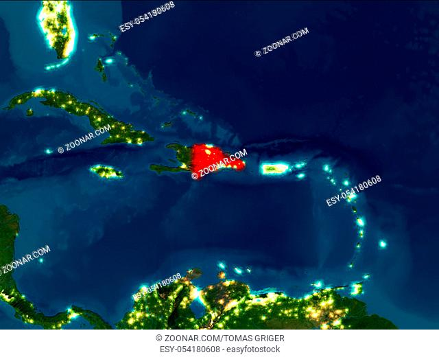 Satellite night view of Dominican Republic highlighted in red on planet Earth. 3D illustration. Elements of this image furnished by NASA