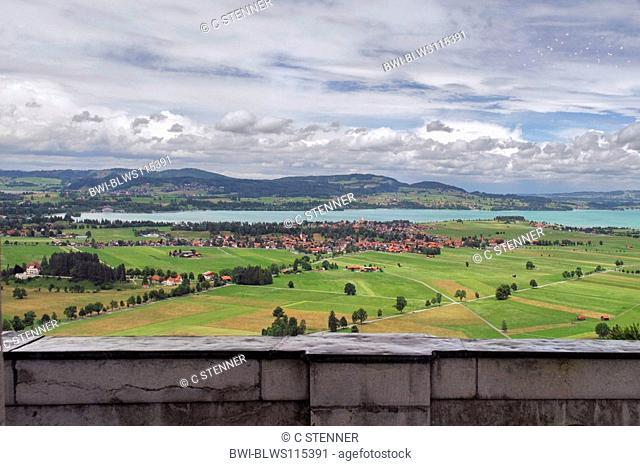 Neuschwanstein Castle, view to Forggensee, Germany, Bavaria, Allgaeu, Fuessen