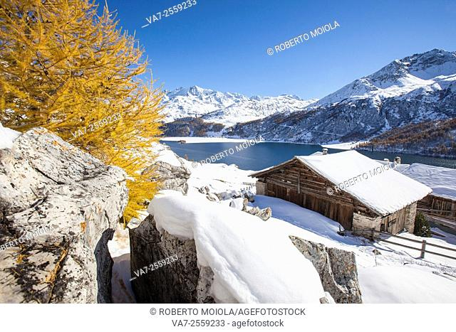 The wooden cabin of Spluga surrounded by Lake Sils and autumn colors Engadine Switzerland Europe