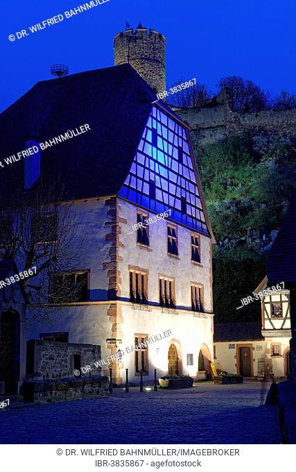 Half-timbered house underneath Château de Kaysersberg, Hohenstaufen castle, Kaysersberg, Haut-Rhin, Alsace, France