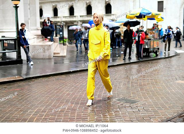 Vanessa Hong walking on the street outside the Tibi show during New York Fashion Week - Sept 9, 2018 - Photo: Runway Manhattan ***For Editorial Use Only*** |...