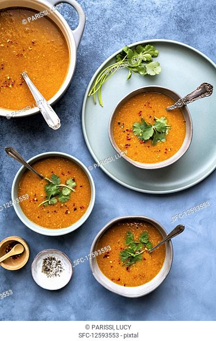 Red lentil soup with chili and cilantro