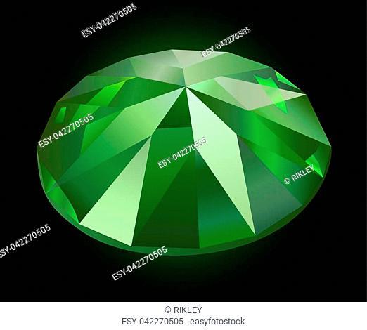Faceted green garnet on dark background