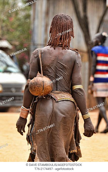 Scars on a Hamer woman's back near Turmi in the Omo Valley, Ethiopia. Women are whipped by men at bull jumping festivals