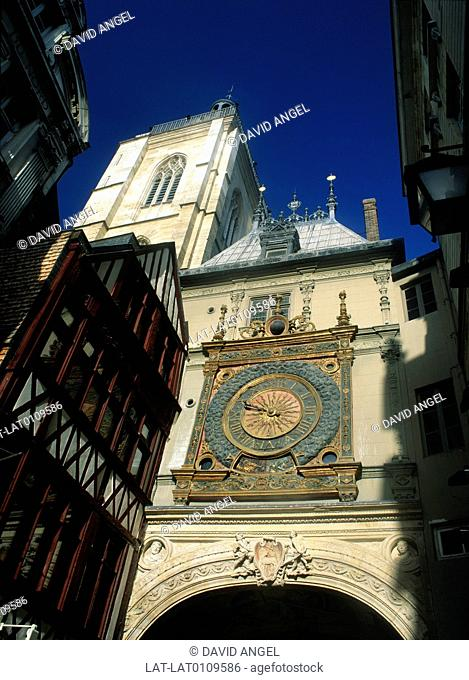 The Gros Horloge is an astronomical clock from the 16th century, a clock with special mechanisms and dials to display astronomical information