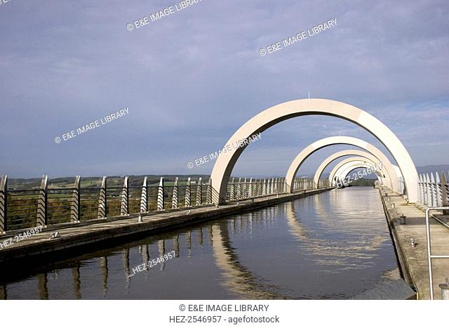 Falkirk Wheel from the top where it joins the Union Canal, Falkirk, Scotland, 2009. The Falkirk Wheel is a rotating boat lift that connects the Forth and Clyde...