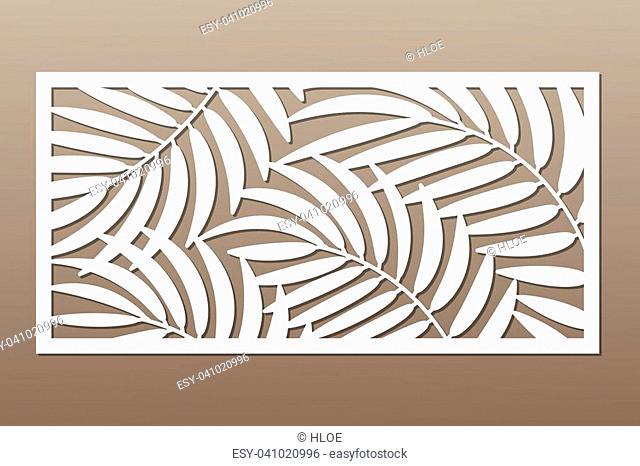 Decorative card for cutting. Palm leaf pattern. Laser cut. Ratio 1:2. Vector illustration