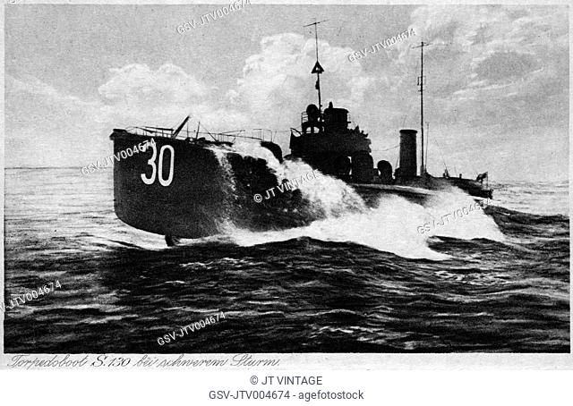 German Torpedo Boat, Torpedoboot S. 130, Postcard, circa 1905