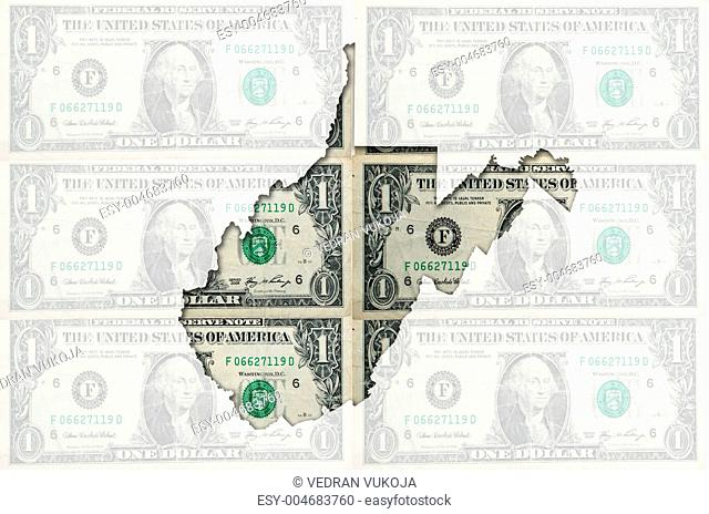 Outline map of west virginia with transparent american dollar ba