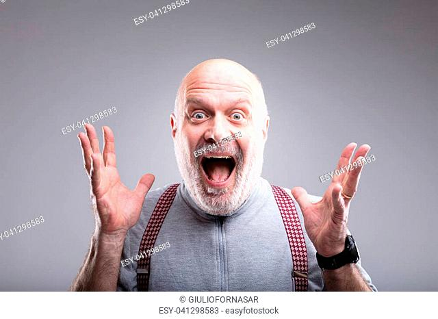 what a surprise old man exaggerated expression