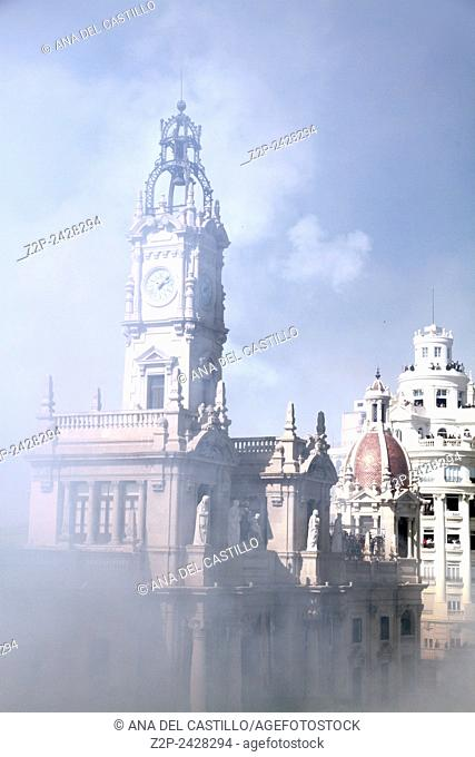 The city Hall square during the celebration of the Mascleta Valencia Spain