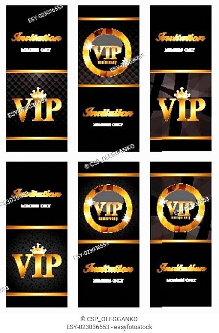 VIP Members Card Set Vector Illustration