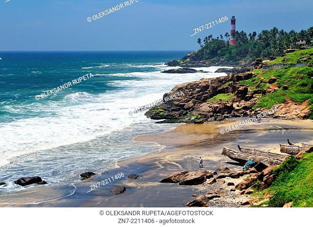 Arabian Sea coast, Kovalam, Kerala, India